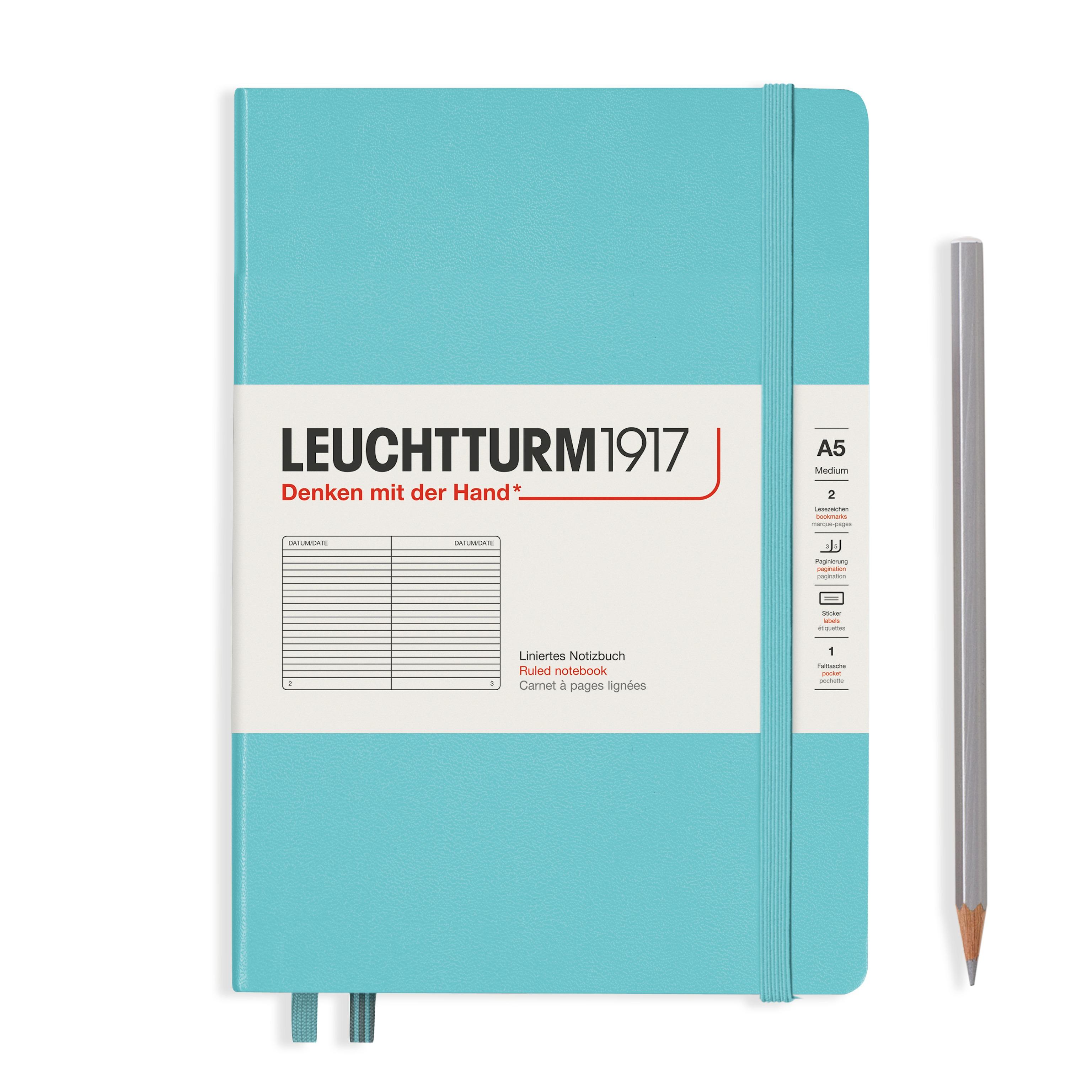 Leuchtturm1917 A5 Hardcover Rising Colours - Aquamarine, Liniert